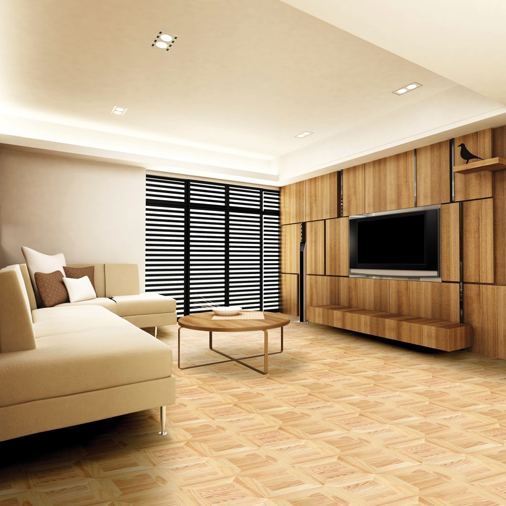 Example of a trendy light wood floor living room design in Other with beige walls and a media wall