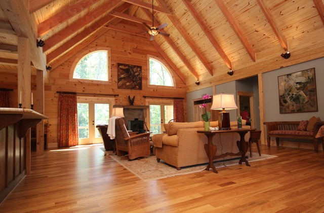 montpelier log cabin rustic living room - Log Cabin Living Room
