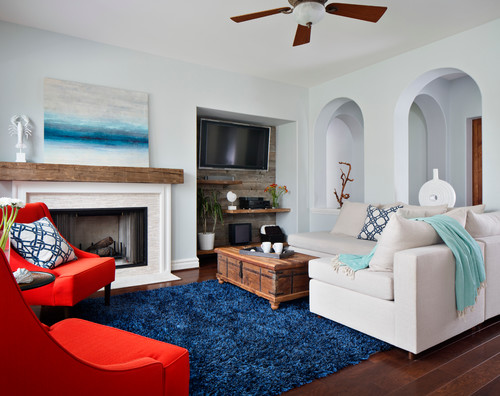 A High Pile Blue Shag In Beach Style Living Room