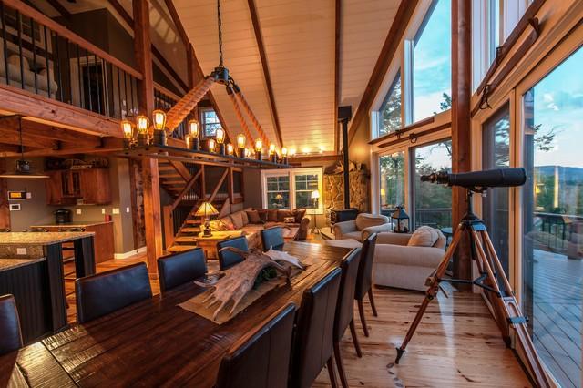 Moose Ridge Lodge Post And Beam Rustic Living Room