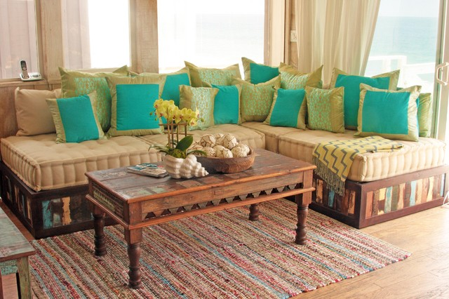 Moroccan style sofa in reclaimed wood eclectic living for Moroccan living room furniture 02