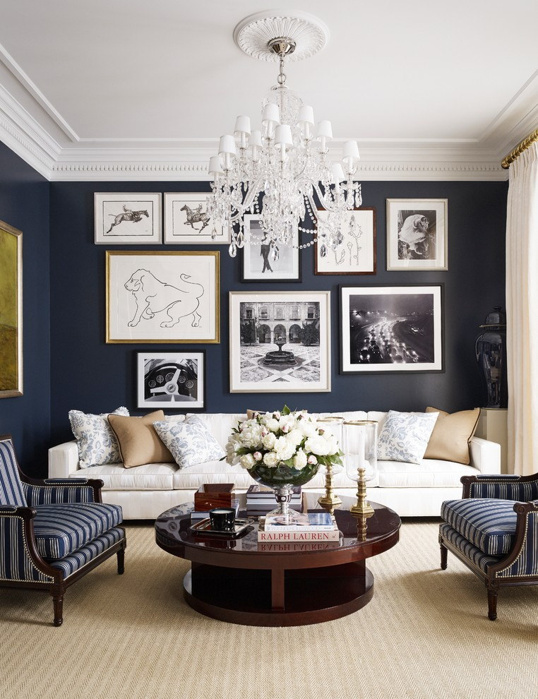 Inspiration for a timeless formal carpeted and beige floor living room remodel in Moscow with black walls and no fireplace