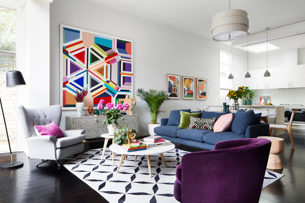 Living room - contemporary formal and open concept painted wood floor and black floor living room idea in Melbourne with white walls