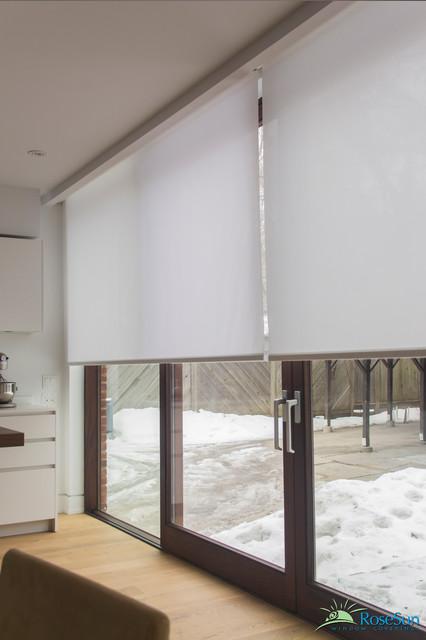 Motorized blinds for large doors modern living room toronto by rosesun motorized window