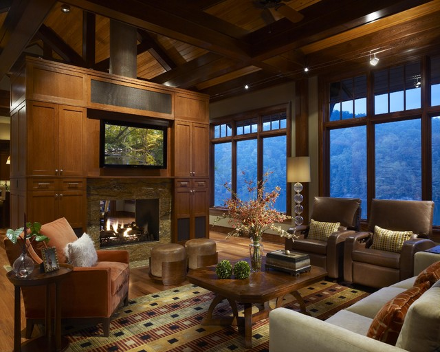 Mountain Cabin Contemporary Living Room