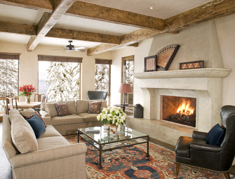 Living room - traditional living room idea in Other with a standard fireplace