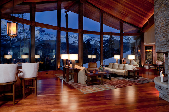 Mountain Contemporary Cabin Contemporary Living Room