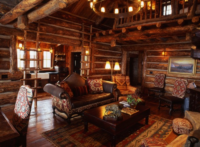 Mountain Guest House rustic-living-room