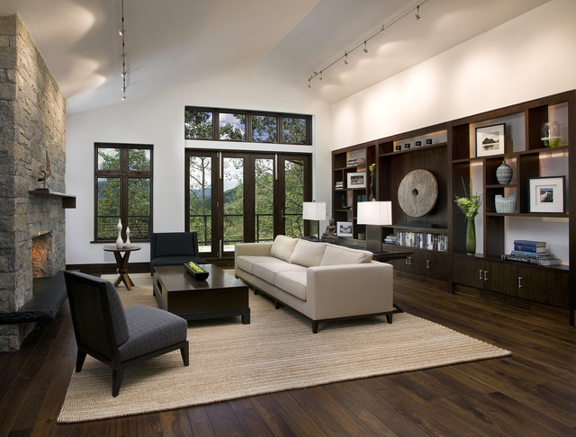 Living Room Large Contemporary Brown Floor Idea In San Francisco With A Stone