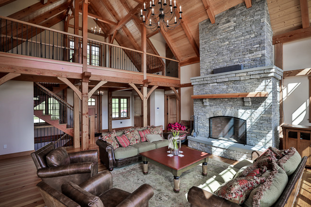 Mountain Home Mt Holly Rustic Living Room Boston By Timberpeg