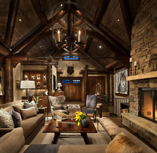 Mountain home remodel rustic living room other metro for Rustic living room interior design
