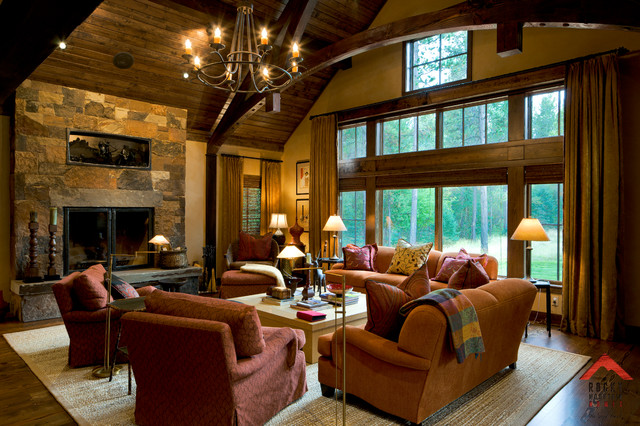 Modern traditional living room before and after - Mountain Living Rocky Mountain Homes Rustic Living