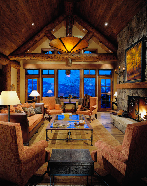 colorado mountain home   traditional   living room