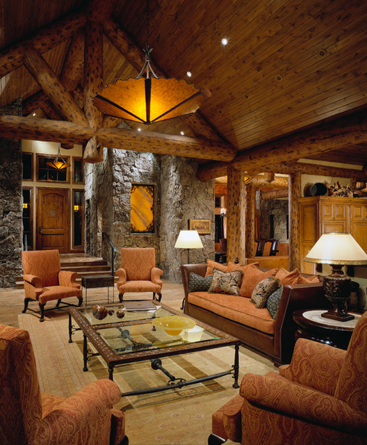Colorado Mountain home traditional-living-room