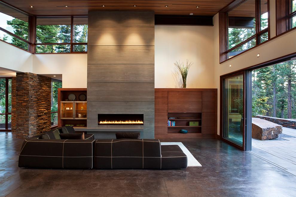 Inspiration for a contemporary concrete floor living room remodel in Sacramento