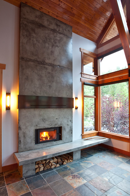 Mountain Modern Home Fireplace Renovation Rustic Living Room Calgary By Larsen Whelan