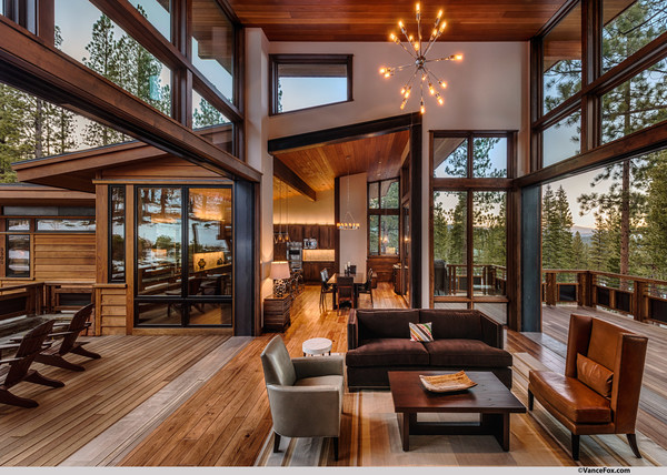 Charmant Mountain Modern Lodge Transitional Living Room