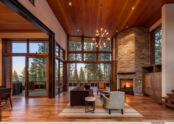Mountain Modern Lodge Transitional Living Room