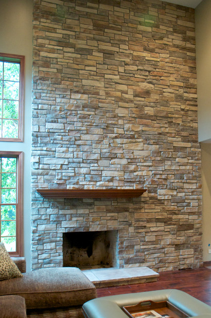 Mountain Stack Stone Veneer traditional-living-room