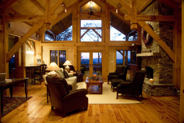 Mountain Timber Frame Traditional Living Room Other