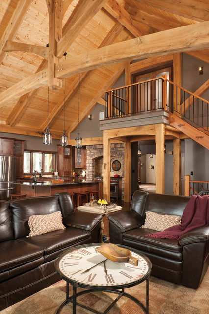 Mountain Timber Frame Home in Canada - Rustic - Living Room