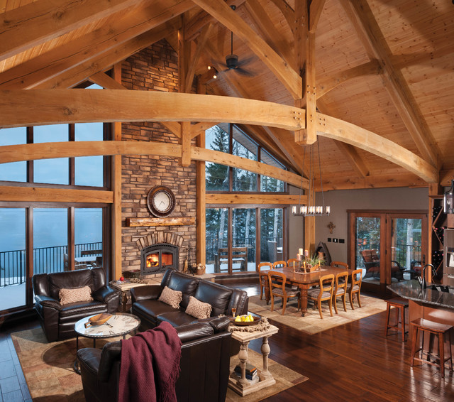 Mountain timber frame home in canada rustic living for How to build a timber frame house