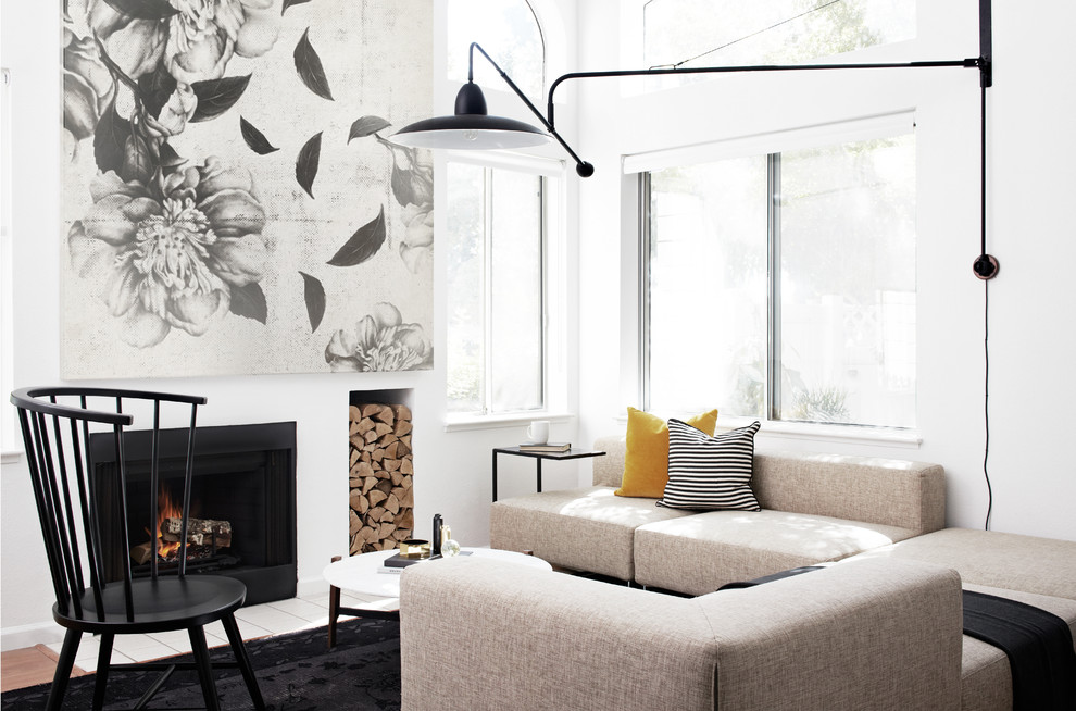 Inspiration for a scandinavian living room remodel in San Francisco with white walls