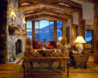 Mountains Rustic Living Room Salt Lake City By