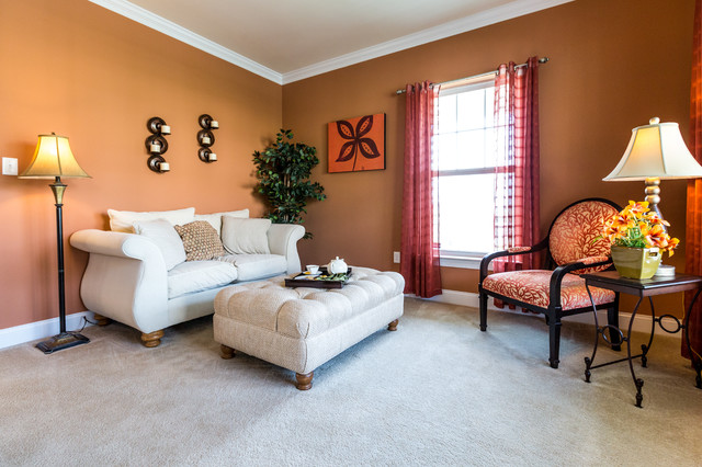 Small Elegant Formal And Enclosed Carpeted Living Room Photo In  Philadelphia With Orange Walls And No