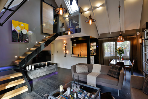 Houzz tour steampunk style in the suburbs for Steampunk living room ideas