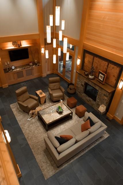 MULTI PENDANT CHANDELIERS FOR TWO STORY LIVING ROOM Modern Living Room