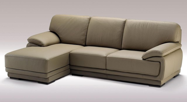 Mushroom Color Sectional Sofa in Top Grain Italian Leather - Modern ...