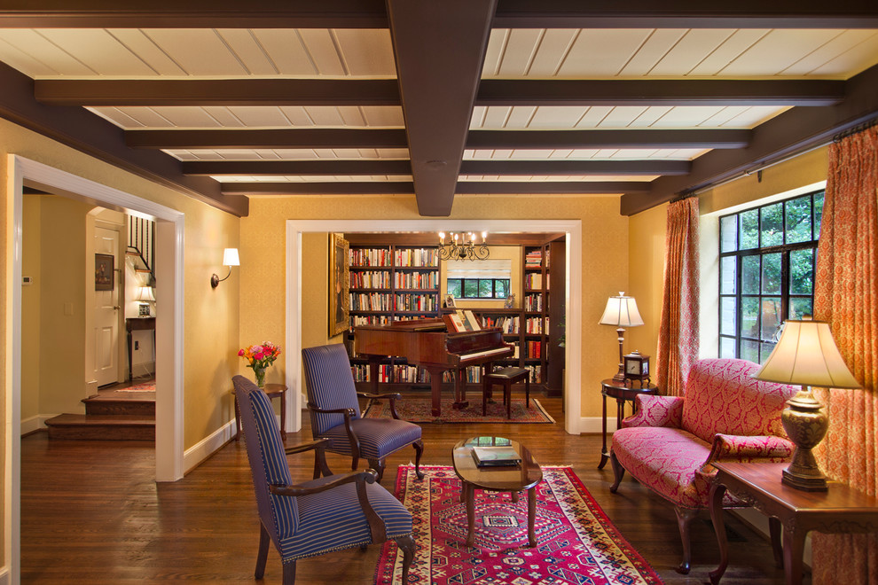 Music room open to sitting room - Traditional - Living ...