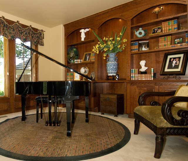 Music Room With Custom Built Ins Traditional Living