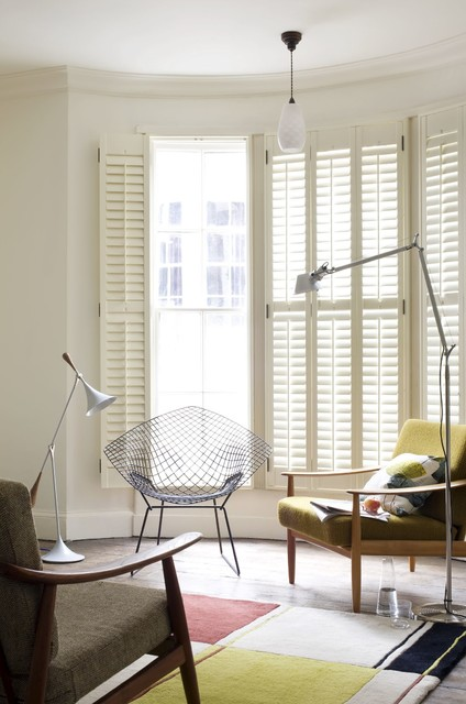 Muted Colour Shutters Midcentury Living Room South East By Shutterly Fabulous