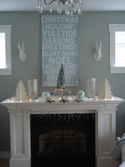 My holiday mantel contemporary living room
