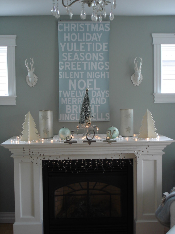 Example of a trendy living room design in Other with blue walls and a standard fireplace