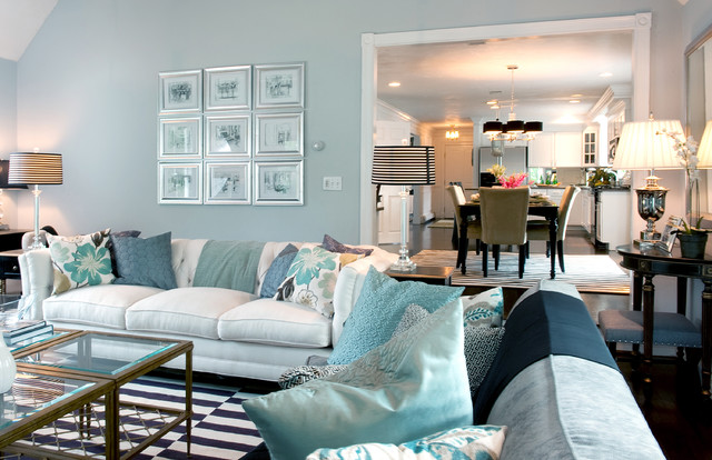 Inspiration For A Timeless Living Room Remodel In Boston With Blue Walls