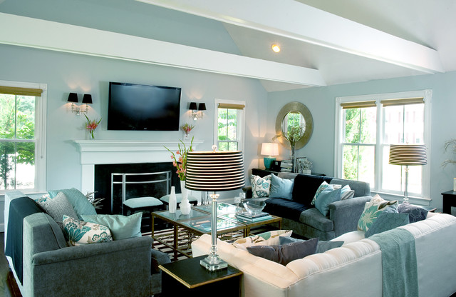 My Houzz A Basic Builder Home Gets The Glam Treatment Traditional Living Room Boston By Mary Prince Photography