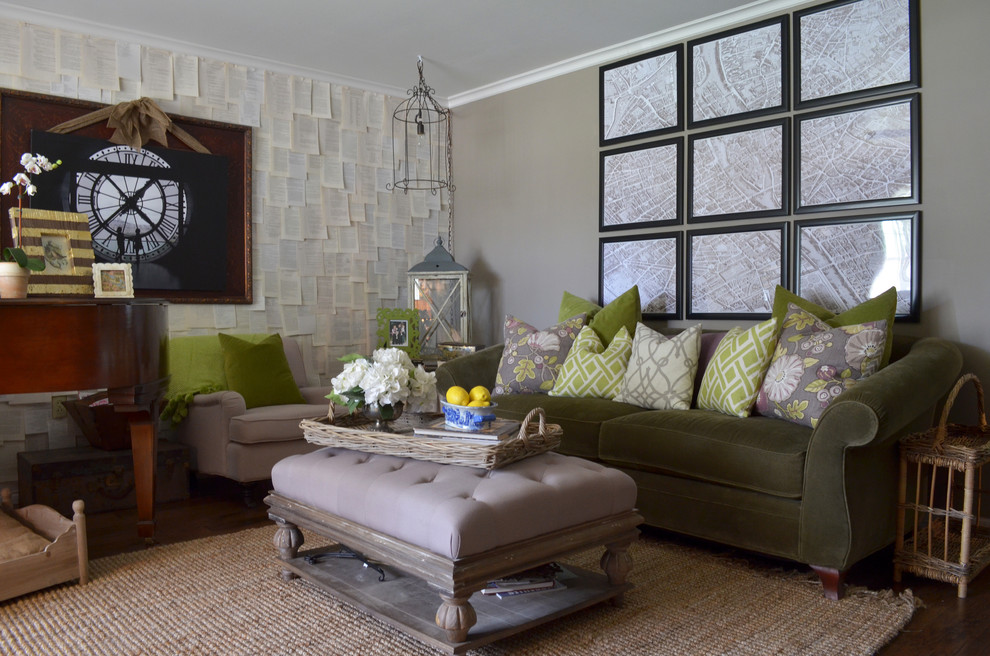 Inspiration for an eclectic living room remodel in Austin with gray walls