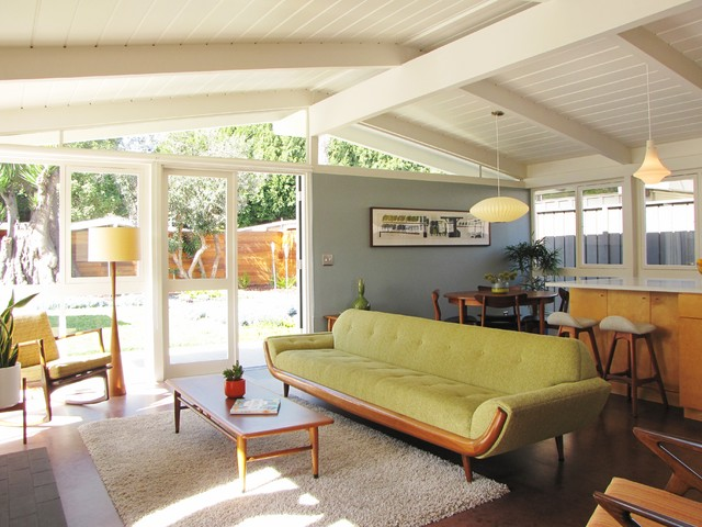 my houzz a mid century marvel revived in long beach midcentury living room orange county. Black Bedroom Furniture Sets. Home Design Ideas