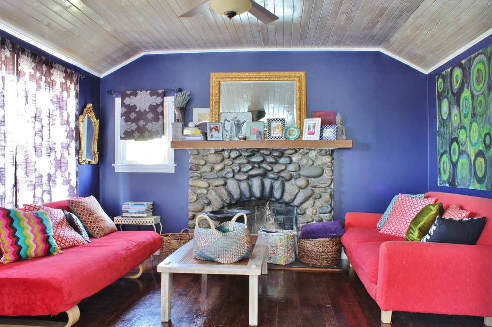 Eclectic living room photo in Seattle with purple walls