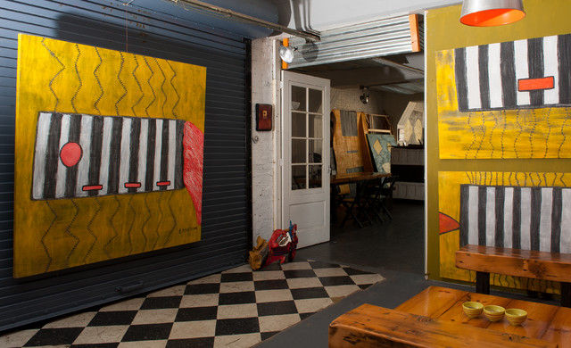 My Houzz: An Art Filled Industrial Pittsburgh Loft industrial-living-room