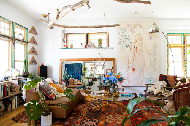 My houzz bohemian home inspired by organic 1970s design for Houzz soggiorno