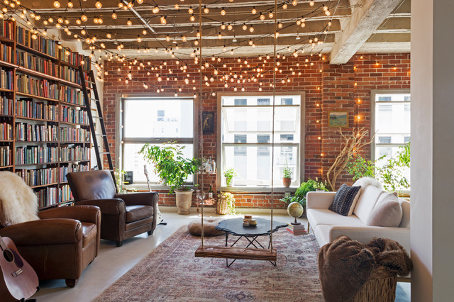 My Houzz: Books and String Lights Jazz Up an L.A. Loft - Industrial - Living  Room - Los Angeles - by Carolyn Reyes | Houzz UK