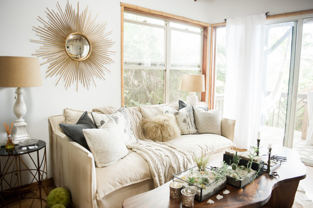 My Houzz Chic Boho Style For A Hawaii Apartment Coastal Living Room By Ashley Camper Photography