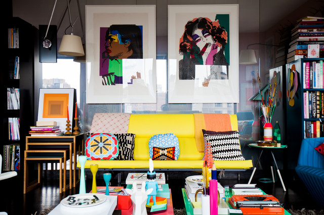 My Houzz Color Breaks All The Rules In This NYC Apartment Eclectic Living