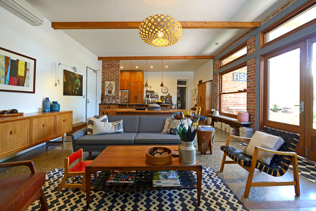 My Houzz Connecting Work And Play In South Australia Midcentury Living Room