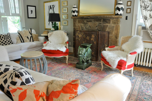My Houzz: Craftiness and Color in Warrenton Equal Vintage Charm eclectic-living-room