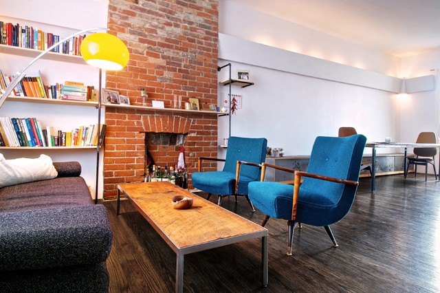 My Houzz: Creative Open-Concept Home in Toronto industrial-living-room